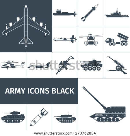 army weapon icons black set