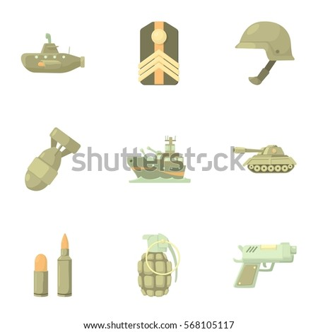 army weapons icons set cartoon