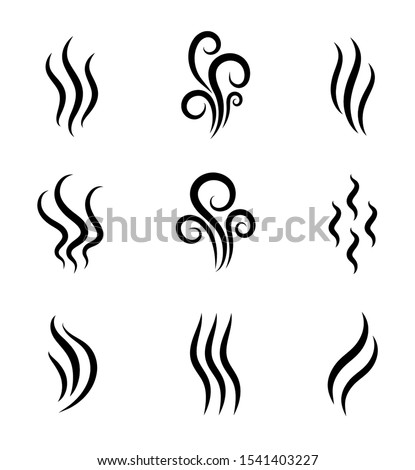 Aromas, smell vaporize icon. Outline symbols smoke, cooking steam odour, fume of flame. Hot aroma odors signs set. Wave of stench isolated. vector abstract illustration