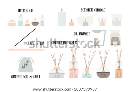 Aromatherapy. Aroma diffuser, essential oil, aromatic bag sachet, incense stick, oil burner, scented candle. Vector flat cartoon illustration Foto stock ©