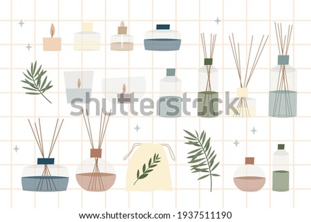 Aromatherapy. Aroma diffuser, essential oil, aromatic bag sachet, incense stick, oil burner, scented candle. Vector flat cartoon illustration Stock foto ©