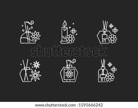 Aromatherapy chalk icons set. Floral scented sticks. Aromatic candles. Blossom air freshener. Cosmetology, spa therapy. Relaxation. Female selfcare. Isolated vector chalkboard illustrations