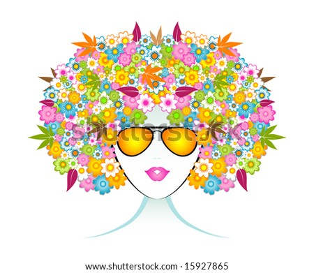 Aromatherapy flower girl with sunglasses.