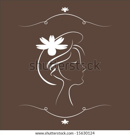 Aromatherapy Logo - Abstract female face enjoying the scent of flower petals.