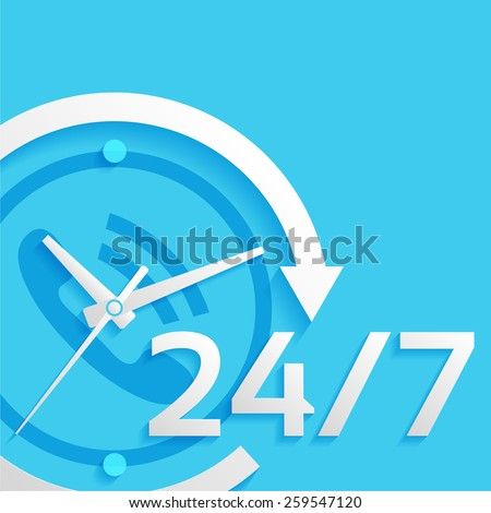 around the clock, 24 hours, 7 days vector illustration