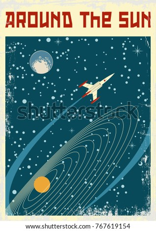 around the sun. space poster....