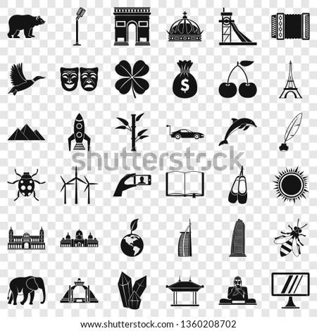 around the world icons set