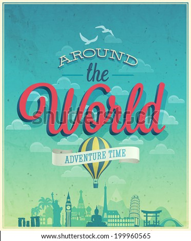 around the world poster vector