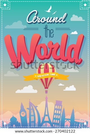 around the world vector poster