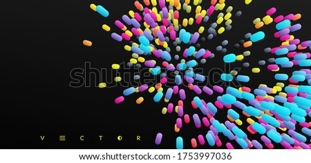 Array with dynamic emitted particles. Abstract background. 3d vector illustration. Foto stock ©