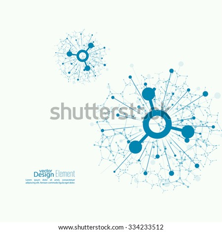 Array with dynamic emitted particles. Node molecule structure. Science and connection concept.