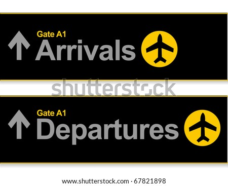 Arrival and departures airport signs isolated over a white background.