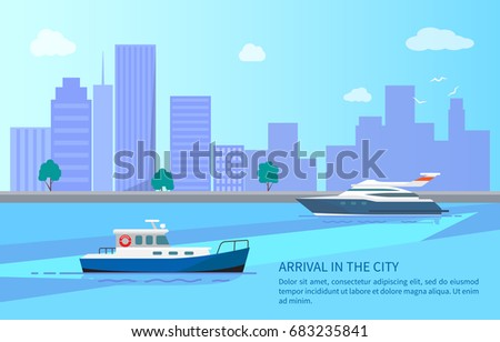 arrival in city from sea trip