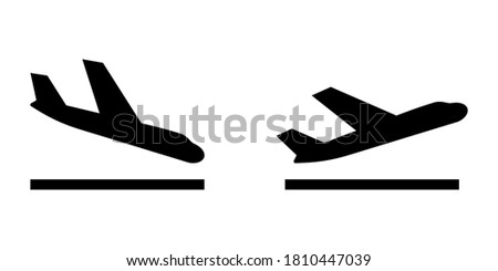 Arrivals and departure plane signs. Airport Sign. Simple icons, airplane landing and takeoff. Airport icons set: departures, arrivals. Vector illustration Aircraft or Airplane Сток-фото ©