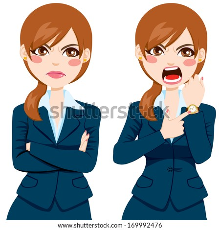 Arriving late concept, angry businesswoman pointing finger to her wristwatch showing the time and yelling