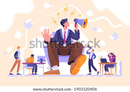 Arrogance or selfish management concept. Bossy manager doesnt listen to subordinates opinion. People shout out for haughty boss sitting in chair with megaphone. Flat cartoon vector illustration Foto d'archivio ©