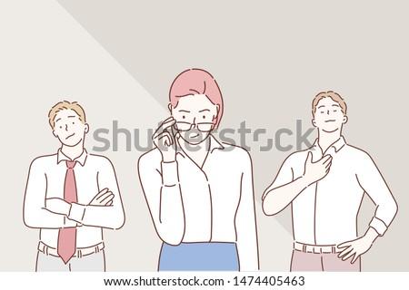 Arrogant business people. Hand drawn style vector design illustrations.