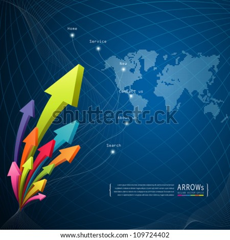 Arrow abstract technology background, vector illustration - stock vector