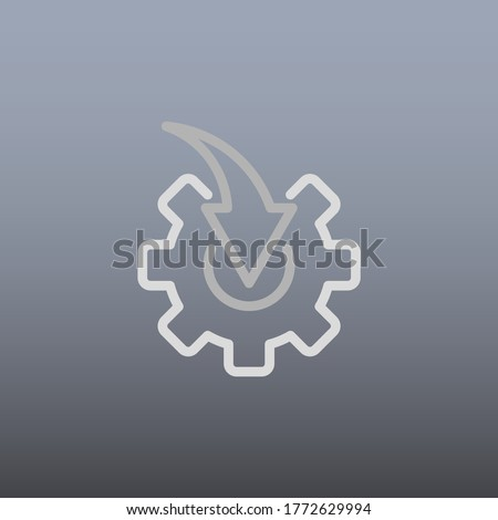 Arrow And Gear Icon Vector Illustration In Trendy Flat Style Isolated On Grey Background. Arrow Symbol For Your Beb Site Design Template, logo, App, UI. Foto stock ©