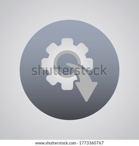 Arrow And Gear Icon Vector Illustration In Trendy Flat Style Isolated On Grey Background. Arrow Symbol For Your Beb Site Design Template, logo, App, UI.Vector Illustration. Foto stock ©
