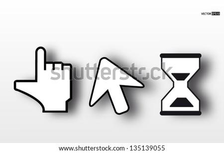 Arrow and hand cursor icon. Vector illustration.