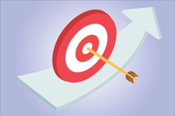 Arrow and target on blue gradient wallpaper vector isometric ilustration representing targeting in business.