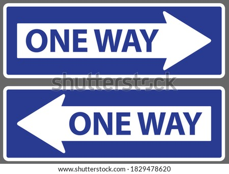 arrow and wording one way on
