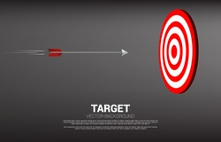 arrow archery move direct to hit the center of dartboard . Business Concept of marketing target and customer.Company vision mission and goal.