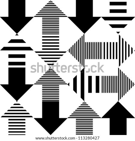 arrow black & striped on white seamless pattern