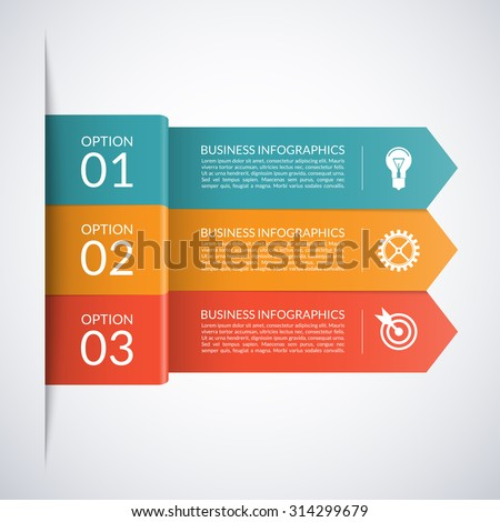 Arrow business infographic template. Numbered banners for diagram, graph, brochure, report, presentation, chart, web design. 3 steps, parts, options, stages. Vector background