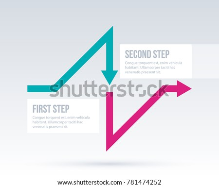 Arrow business layout with two steps in elegant corporate style on white background.