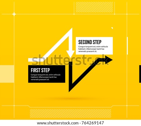 Arrow business layout with two steps in elegant techno style on bright yellow background.