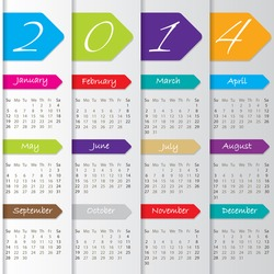 Arrow calendar design for the year 2014