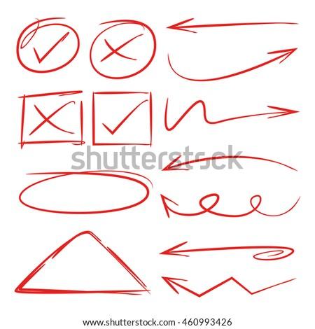 arrow, check list, doodle line set
