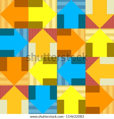 arrow colorful seamless pattern blue, yellow, orange - stock vector