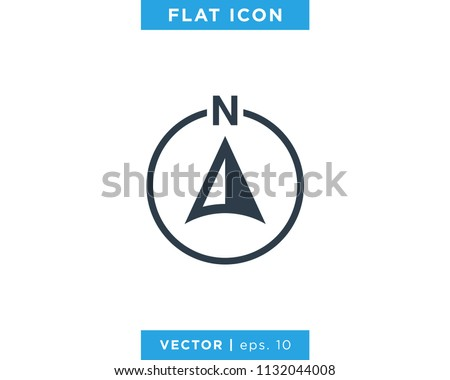 Arrow Compass Icon Vector Logo Template. North Direction.