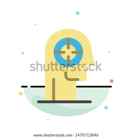 Arrow, Concentration, Focus, Head, Human Abstract Flat Color Icon Template. Vector Icon Template background