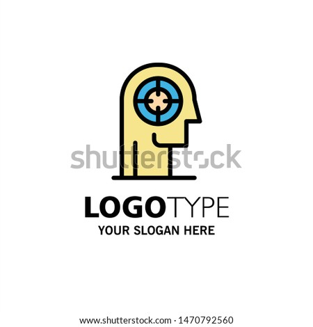 Arrow, Concentration, Focus, Head, Human Business Logo Template. Flat Color. Vector Icon Template background