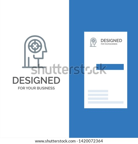 Arrow, Concentration, Focus, Head, Human Grey Logo Design and Business Card Template