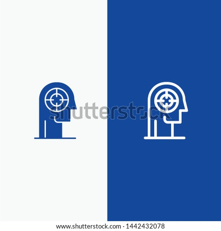 Arrow, Concentration, Focus, Head, Human Line and Glyph Solid icon Blue banner Line and Glyph Solid icon Blue banner