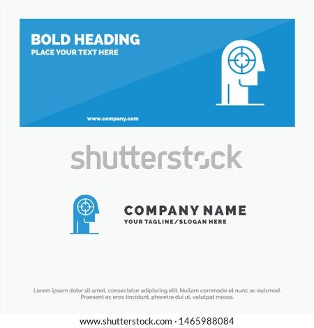 Arrow, Concentration, Focus, Head, Human SOlid Icon Website Banner and Business Logo Template. Vector Icon Template background