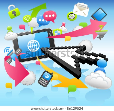 Arrow cursor ,cloud computing,internet,business set