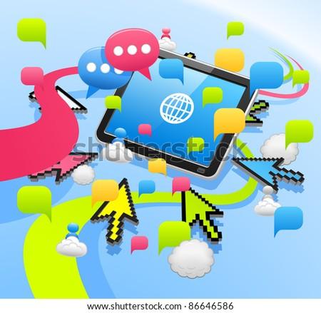 Arrow cursor ,communication,cloud computing,tablet PC,business set