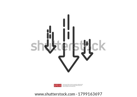 arrow decrease icon symbol. economy stretching rising drop fall down. Business lost crisis decrease. lower cost, reduction bankrupt icon. vector illustration. Сток-фото ©