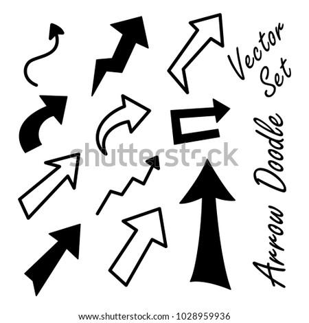 Arrow doodle vector set