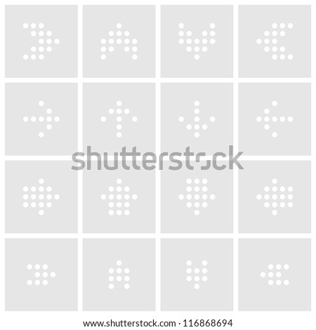 Arrow dot sign digital display. Gray colors icon contemporary style. Simple square shape web internet button on white background. This vector illustration web design elements saved 8 eps
