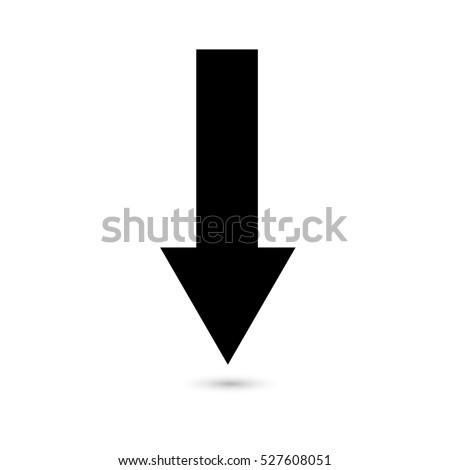 Arrow down icon black on a white background