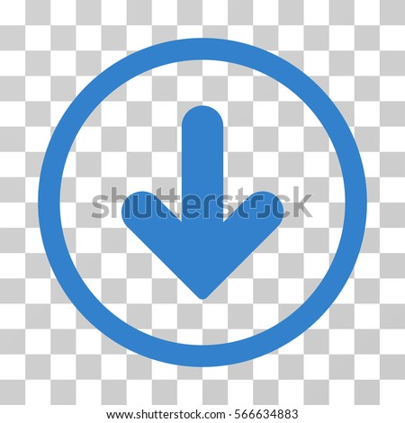Arrow Down rounded icon. Vector illustration style is flat iconic symbol inside a circle, cobalt color, transparent background. Designed for web and software interfaces.