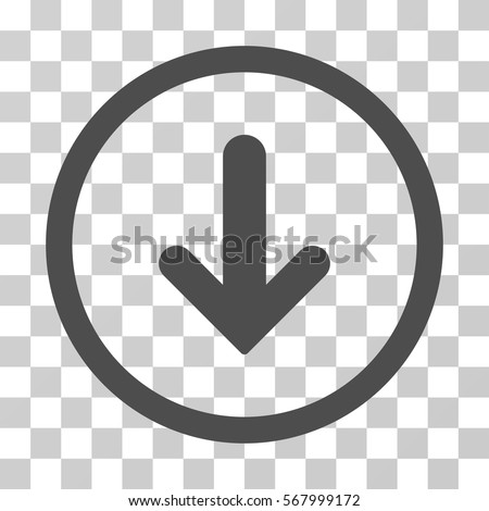Arrow Down rounded icon. Vector illustration style is flat iconic symbol inside a circle, gray color, transparent background. Designed for web and software interfaces.