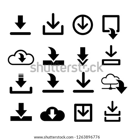 arrow download document icon vector, down symbol files, images - set, kit share template for web design sites, apps, computer programs, games. Collection black flat icons.
